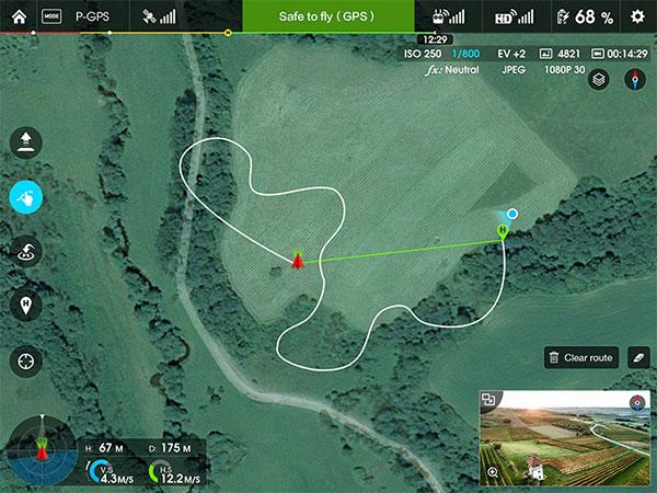 使用DJI GO中的地图路径功能导航回原点