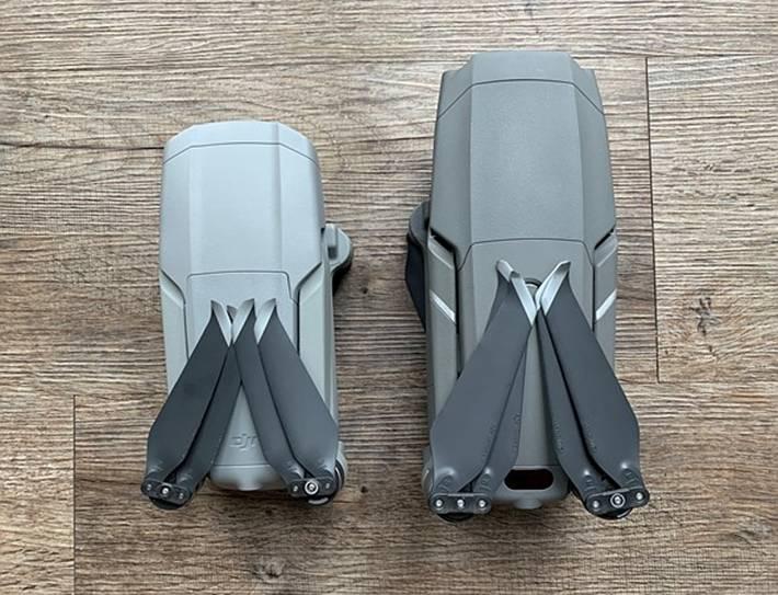 说到尺寸,Mavic Air 2(左)介于Mavic 2 Pro(右)和Mini(未图示)之间。