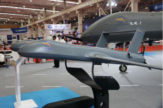 2019全球无人机应用及防控大会上的飞机展示图