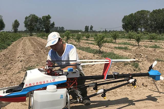 植保无人机喷药效率高 替代人工助桃树防治病虫害插图2