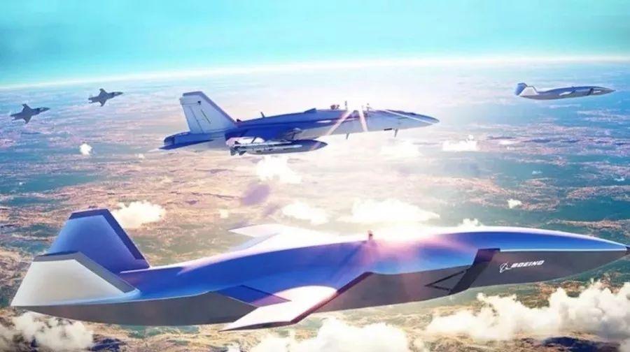 波音空中力量组队系统与F/A-18超级大黄蜂的合作设想图