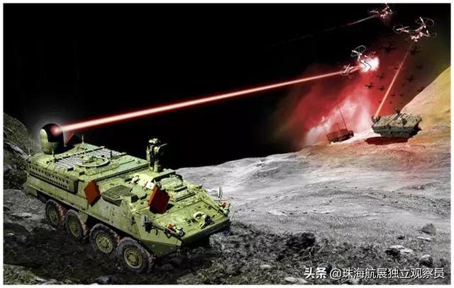 安装在史崔莱克装甲车上的固体激光武器。