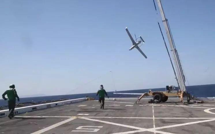 美国海军首次用于扫描鹰无人机海上回收