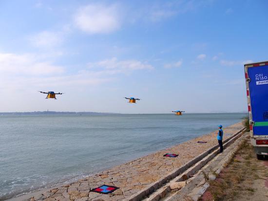 全国首次无人机群跨海快递: 9分钟飞5公里