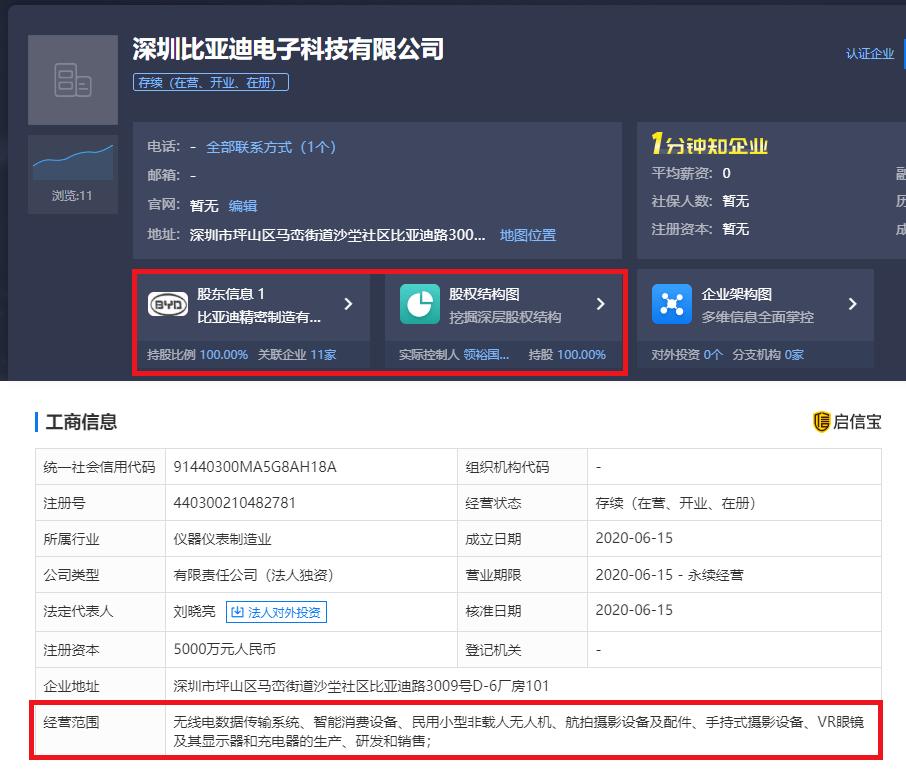 深圳比亚迪成立无人机公司