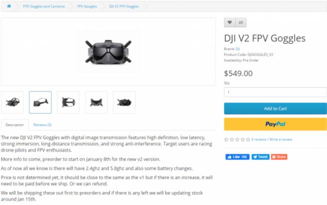 DJI FPV飞行眼镜V2 售价549美元